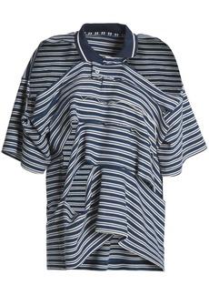 Maison Margiela Woman Cold-shoulder Sliced Striped Cotton-piqué Polo Shirt Navy