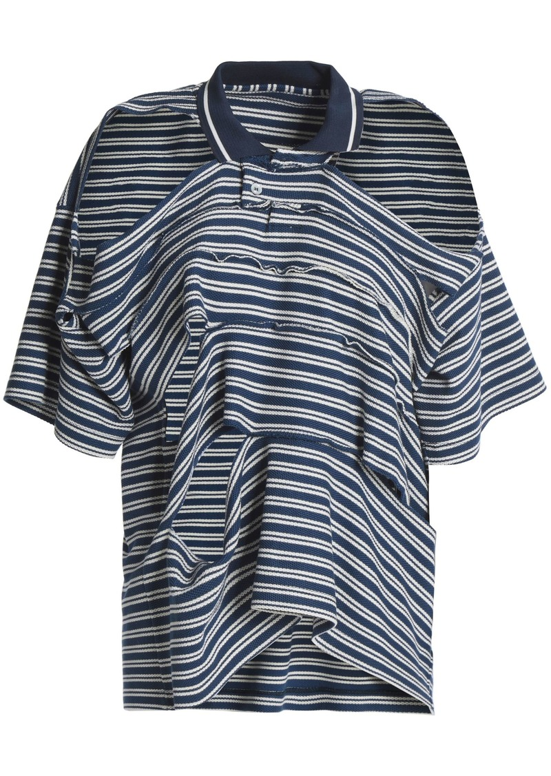 Maison Margiela Woman Cold-shoulder Sliced Striped Cotton-piqué Polo Shirt Navy