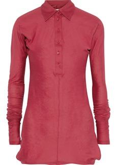 Maison Margiela Woman Cotton And Cashmere-blend Jersey Shirt Claret
