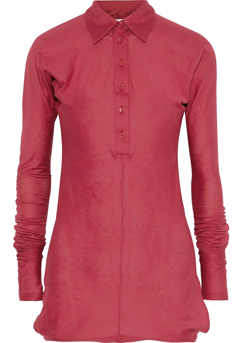 Maison Margiela Woman Cotton And Cashmere-blend Jersey Shirt Claret