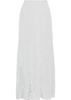 Maison Margiela Woman Crinkled-woven Maxi Skirt Light Gray