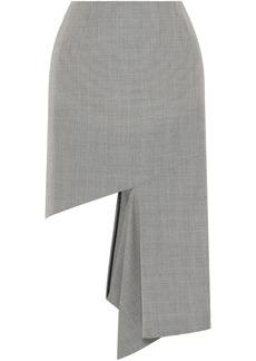 Maison Margiela Woman Cutout Houndstooth Cotton Midi Skirt Black
