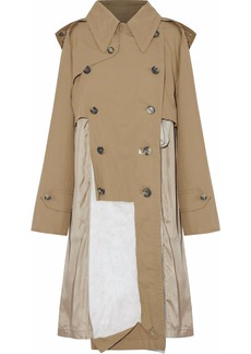 Maison Margiela Woman Distressed Paneled Cotton-twill Hooded Trench Coat Sand