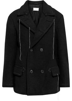 Maison Margiela Woman Double-breasted Brushed Wool Coat Black
