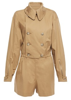 Maison Margiela Woman Double-breasted Cotton-twill Playsuit Camel