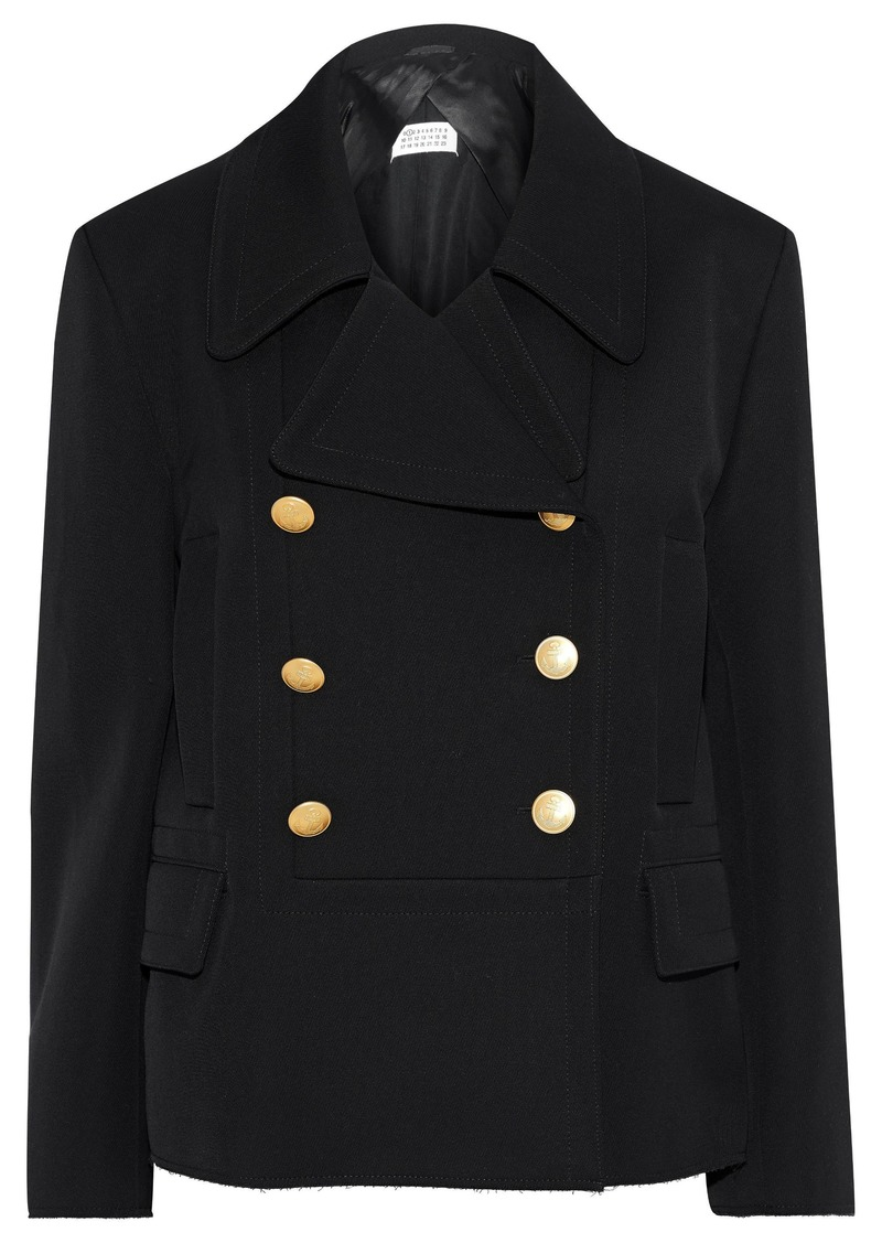 Maison Margiela Woman Double-breasted Wool And Cotton-blend Gabardine Trench Blazer Black
