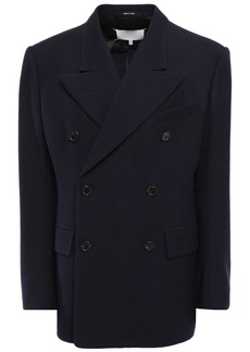 Maison Margiela Woman Double-breasted Wool-gabardine Jacket Midnight Blue