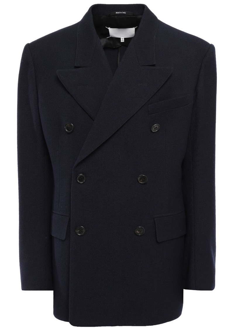 Maison Margiela Woman Double-breasted Wool-gabardine Jacket Midnight Blue