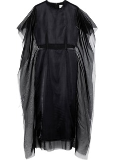 Maison Margiela Woman Draped Organza And Silk-satin Midi Dress Navy