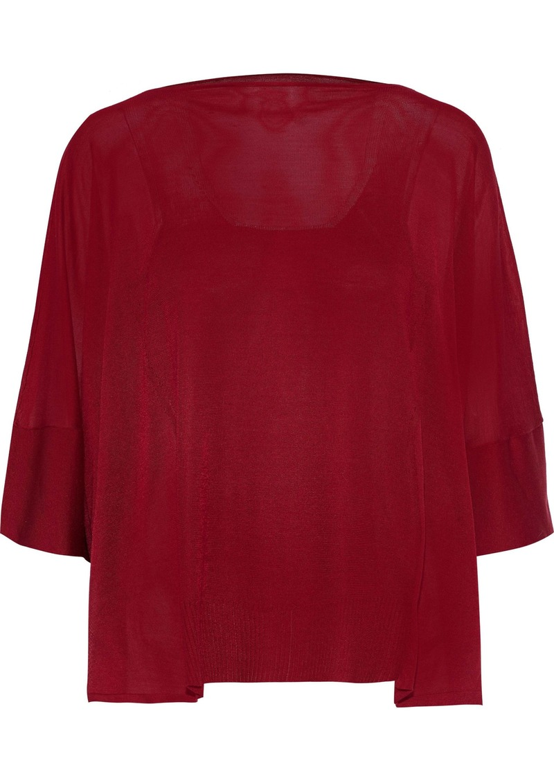Maison Margiela Woman Draped Silk Sweater Claret