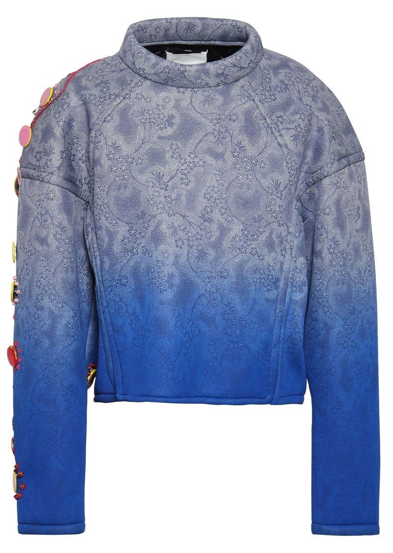Maison Margiela Woman Embellished Printed Dégradé Scuba Sweatshirt Blue