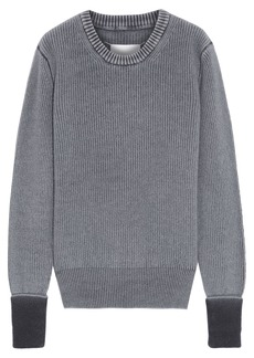 Maison Margiela Woman Faded Brushed Ribbed Wool Sweater Gray