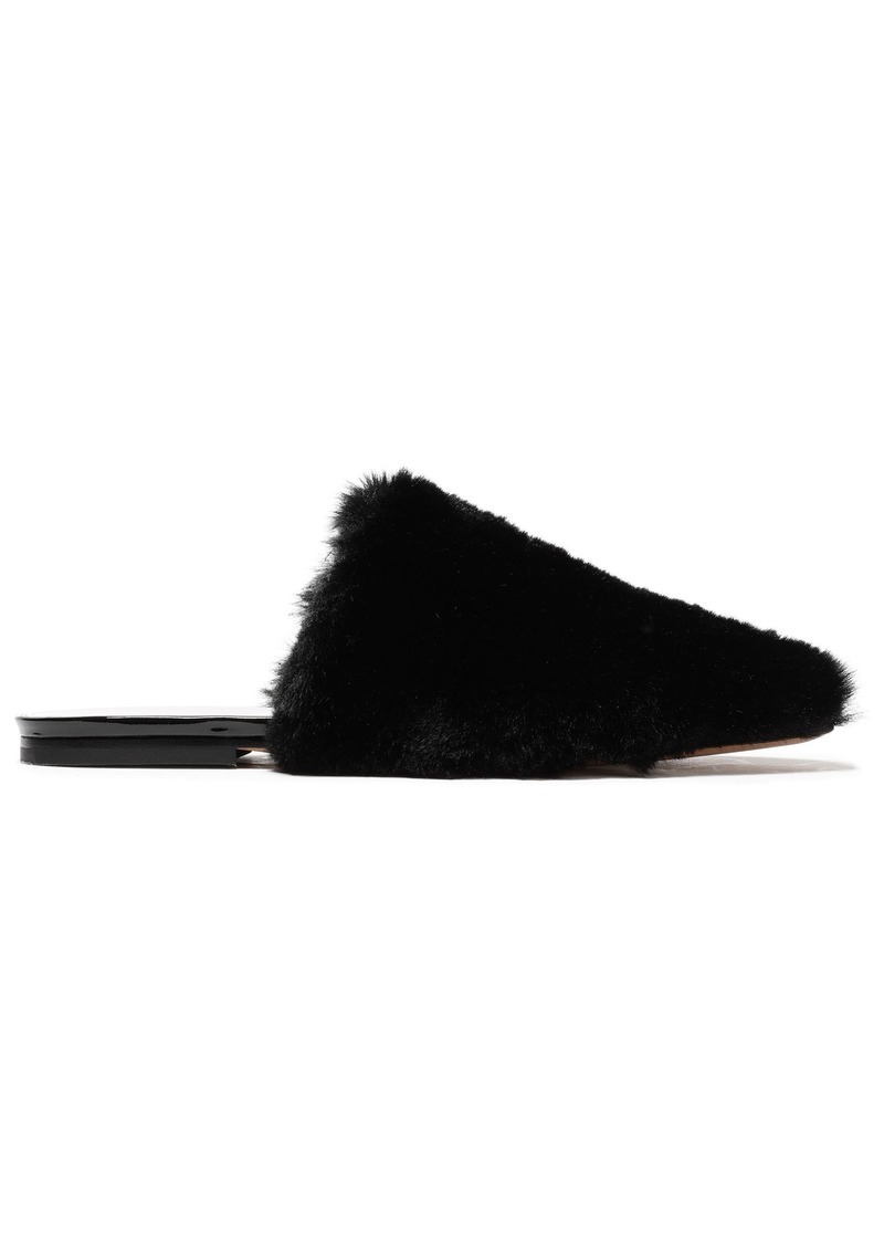 Maison Margiela Woman Faux Fur Slippers Black