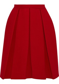 Maison Margiela Woman Pleated Wool-twill Skirt Crimson