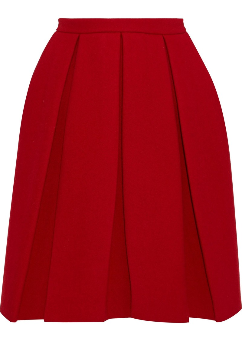 Maison Margiela Woman Pleated Wool-twill Skirt Crimson