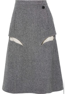Maison Margiela Woman Frayed Cutout Herringbone Wool Skirt Anthracite