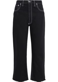 Maison Margiela Woman Frayed High-rise Straight-leg Jeans Black