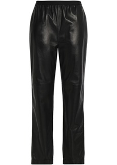 Maison Margiela Woman Gathered Leather Straight-leg Pants Black