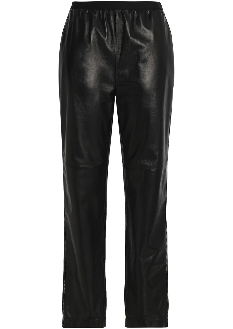 Maison Margiela Woman Gathered Leather Straight-leg Pants Black
