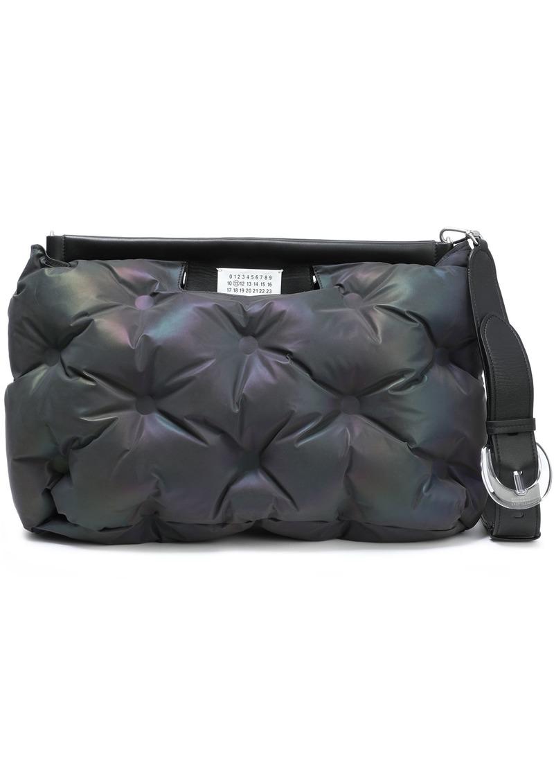 Maison Margiela Woman Glam Slam Medium Quilted Holographic Shell Shoulder Bag Charcoal