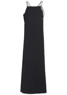 Maison Margiela Woman Lace-trimmed Crepe Maxi Dress Black