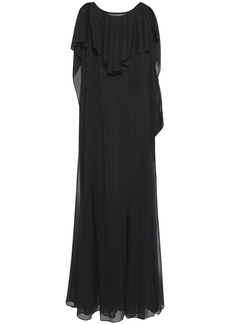 Maison Margiela Woman Layered Chiffon And Cady Maxi Dress Black