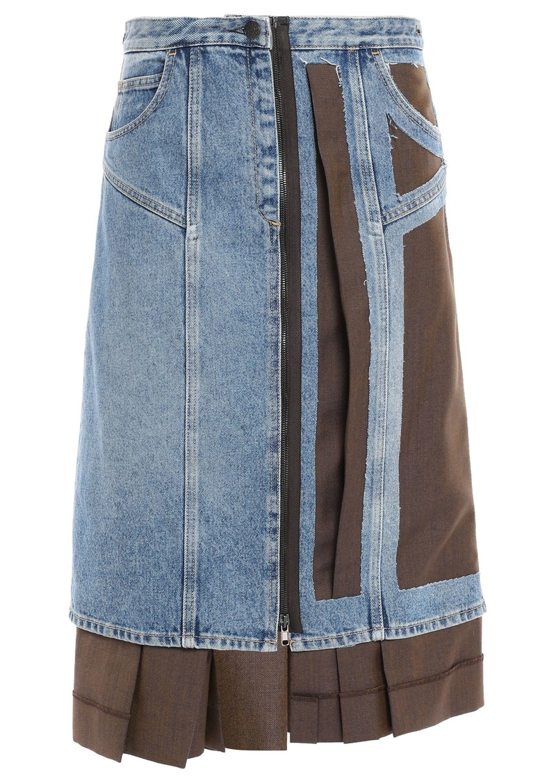 Maison Margiela Woman Layered Cutout Denim And Pleated Wool And Mohair-blend Skirt Mid Denim