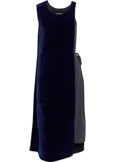 Maison Margiela Woman Layered Felt And Silk Crepe De Chine Wrap Dress Midnight Blue