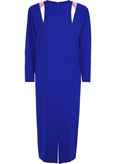 Maison Margiela Woman Leather-trimmed Cutout Crepe Midi Dress Bright Blue