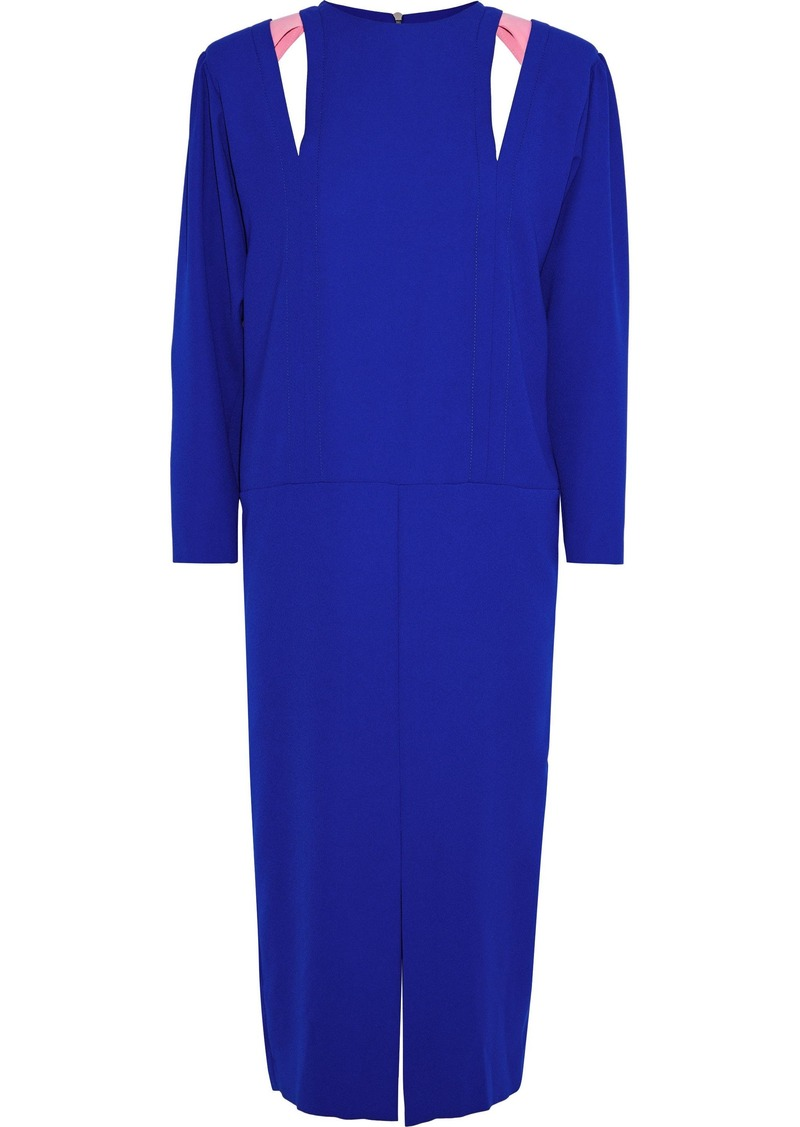 Maison Margiela Woman Leather-trimmed Cutout Crepe Midi Dress Bright Blue