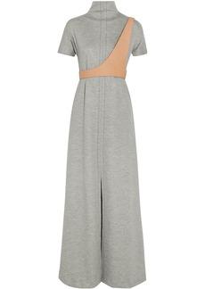 Maison Margiela Woman Leather-trimmed Wool-blend Maxi Dress Gray