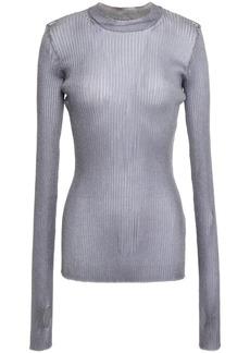 Maison Margiela Woman Metallic Ribbed-knit Sweater Silver