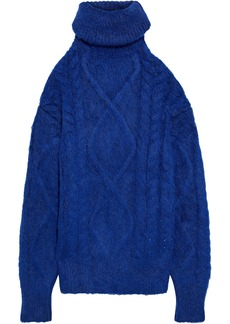 Maison Margiela Woman Open-back Brushed Cable-knit Turtleneck Sweater Royal Blue