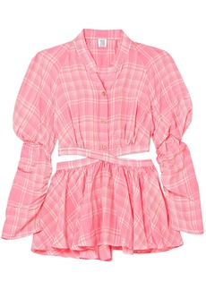 Maison Margiela Woman Open-back Checked Voile Top Pink