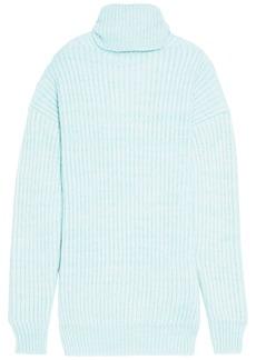Maison Margiela Woman Open-front Ribbed Wool-blend Sweater Mint