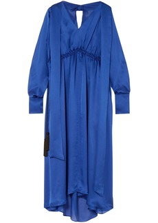 Maison Margiela Woman Open-back Silk-satin Midi Dress Indigo