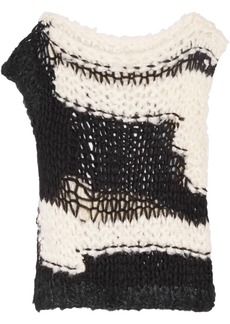 Maison Margiela Woman Open-knit Silk-blend Sweater Black