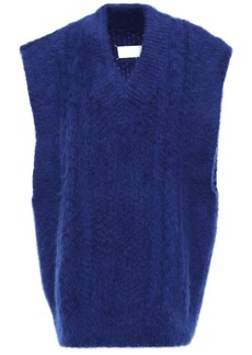 Maison Margiela Woman Oversized Brushed Cable-knit Vest Royal Blue