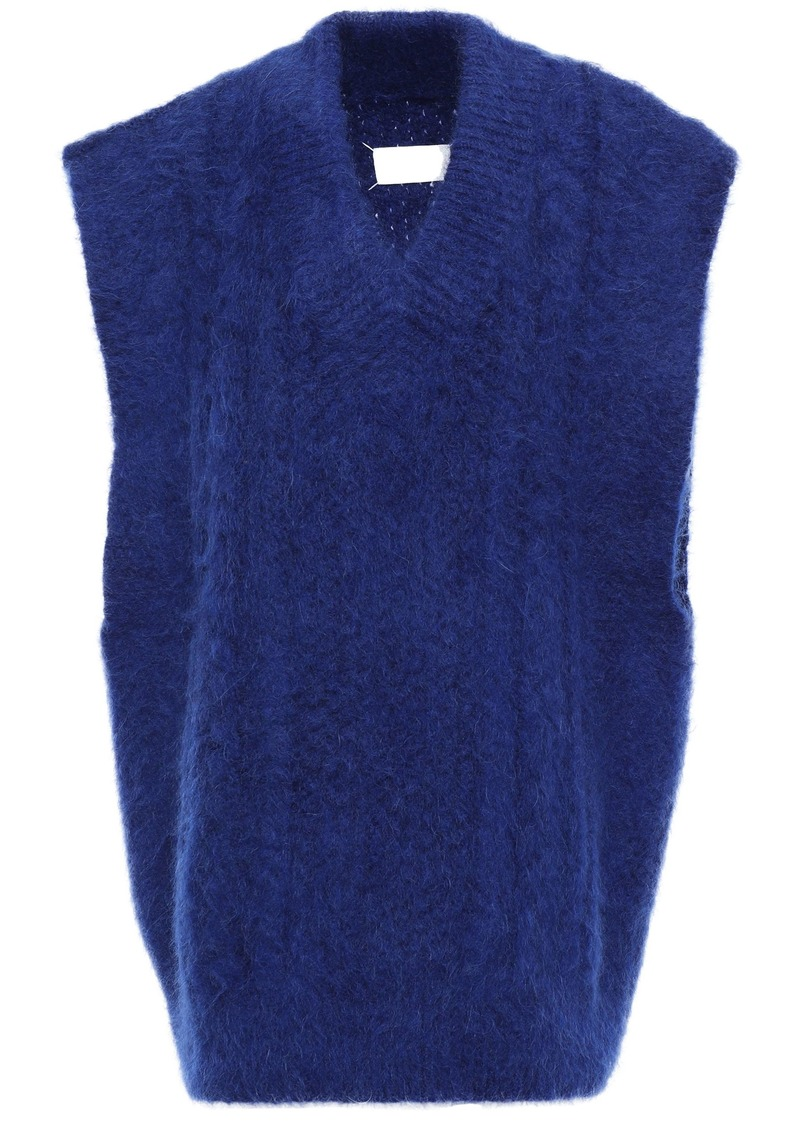 Maison Margiela Woman Oversized Brushed Cable-knit Vest Royal Blue