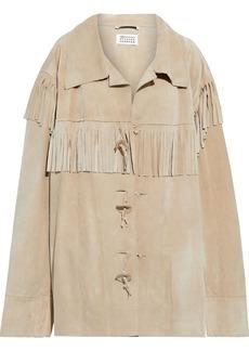 Maison Margiela Woman Oversized Fringed Suede Jacket Beige