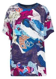 57187fb2 Maison Margiela Woman Oversized Printed Crepe De Chine T-shirt Blue