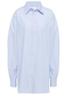 Maison Margiela Woman Oversized Striped Cotton-poplin Shirt Light Blue