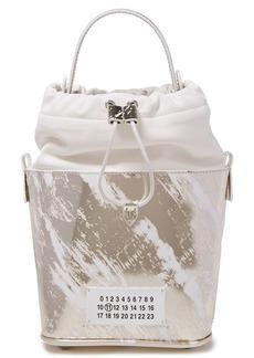 Maison Margiela Woman Paneled Smooth And Metallic Leather Bucket Bag Gold