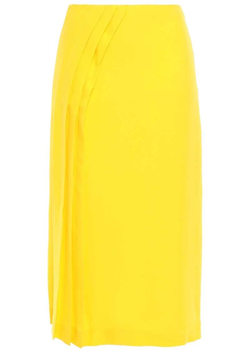 Maison Margiela Woman Pintucked Neon Silk-crepe Midi Skirt Bright Yellow
