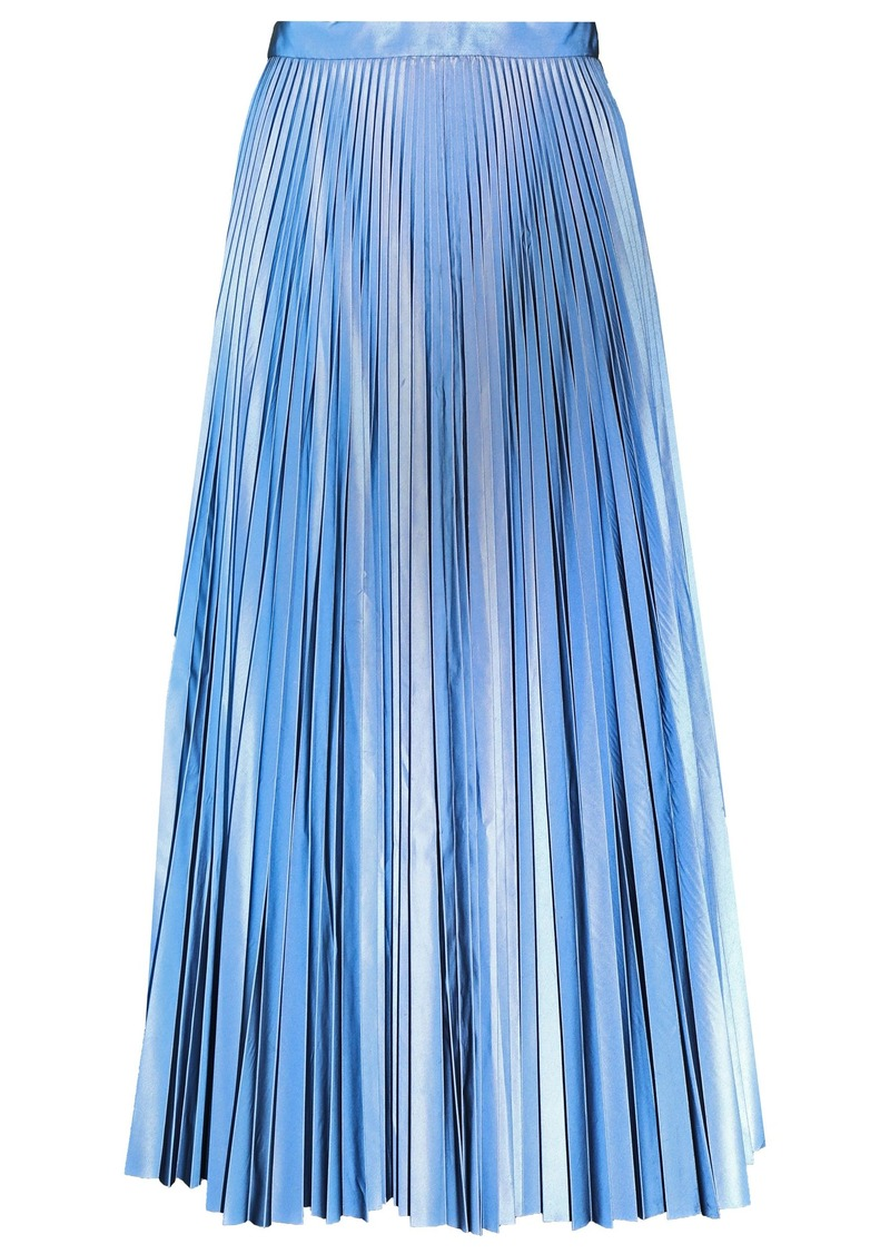 Maison Margiela Woman Pleated Coated-crepe Midi Skirt Light Blue