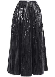 Maison Margiela Woman Pleated Coated Shell Midi Skirt Black
