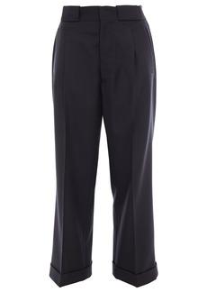 Maison Margiela Woman Pleated Wool-blend Twill Straight-leg Pants Black