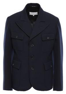 Maison Margiela Woman Pleated Wool-gabardine Jacket Midnight Blue