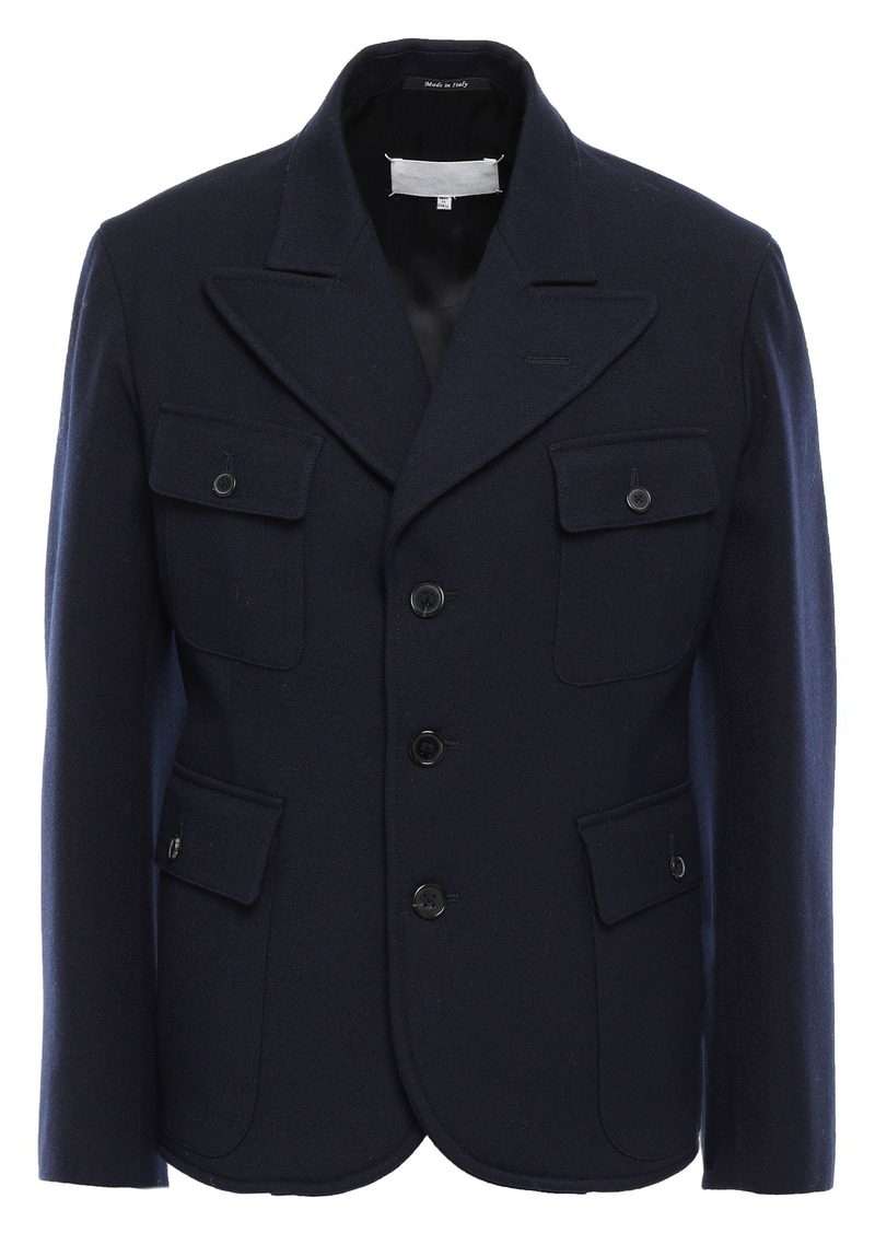 Maison Margiela Woman Pleated Wool-gabardine Jacket Midnight Blue