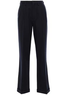 Maison Margiela Woman Pleated Wool-twill Straight-leg Pants Midnight Blue